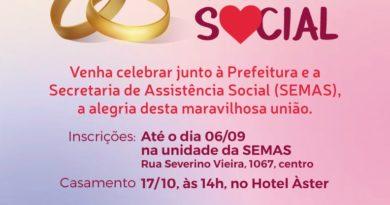 Prefeitura realizará celebração de casamento social no Hotel Áster
