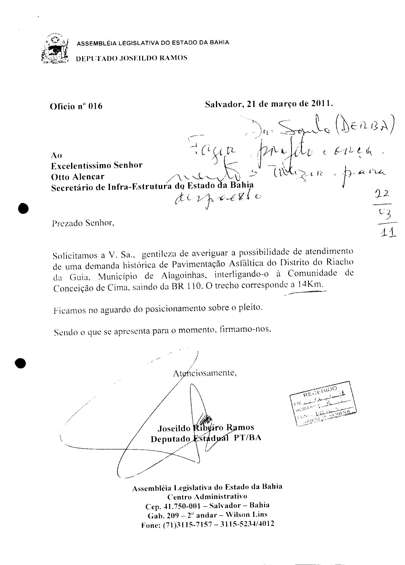 OFICIO JOSEILDO PARA OTTO ALENCAR