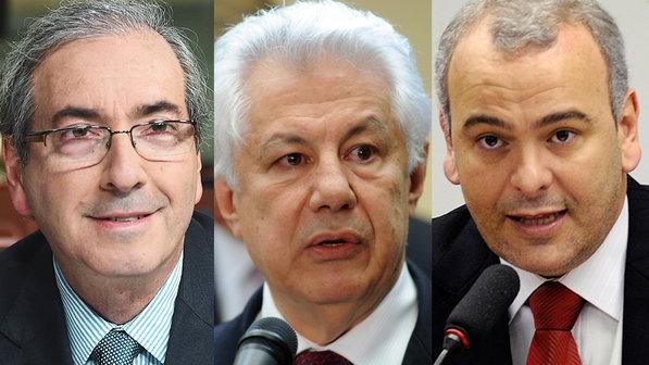 Os deputados Eduardo Cunha, Arlindo Chinaglia e Júlio Delgado são candidatos à presidência da Câmara em 2015