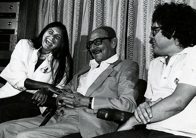 Fafá de Belém, o político Teotônio Vilela e o compositor Fernando Brant, no estúdio da Som Livre, em 1983