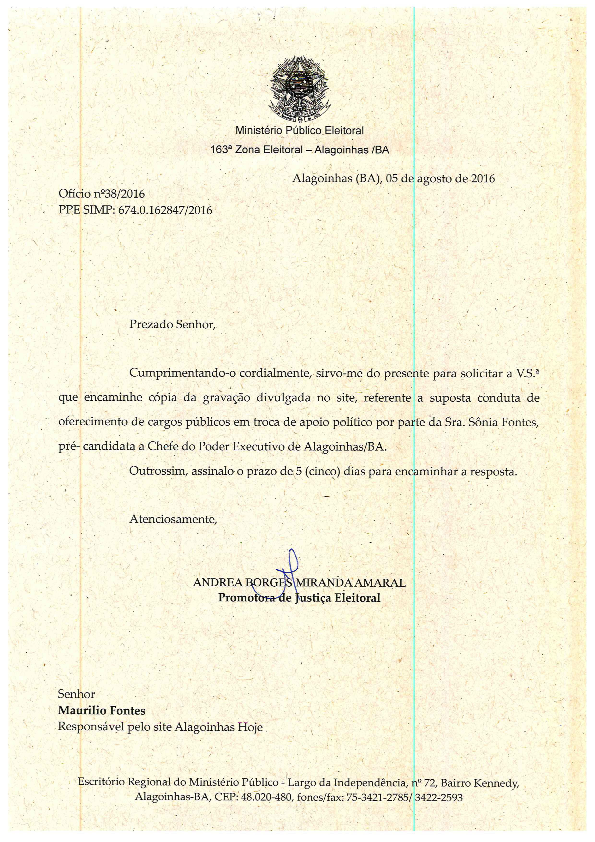Ofício MPE Bahia - Alagoinhas Hoje