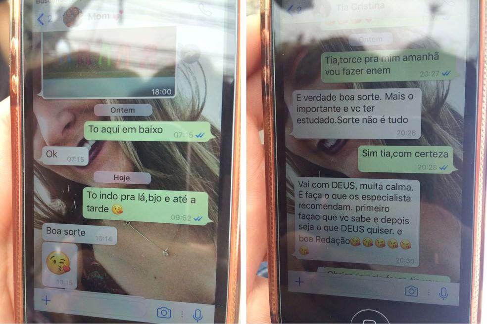 Paola Marchesete recebeu mensagens de boa sorte da mãe e recomendações de uma tia (Foto: Paula Paiva Paulo/ G1)